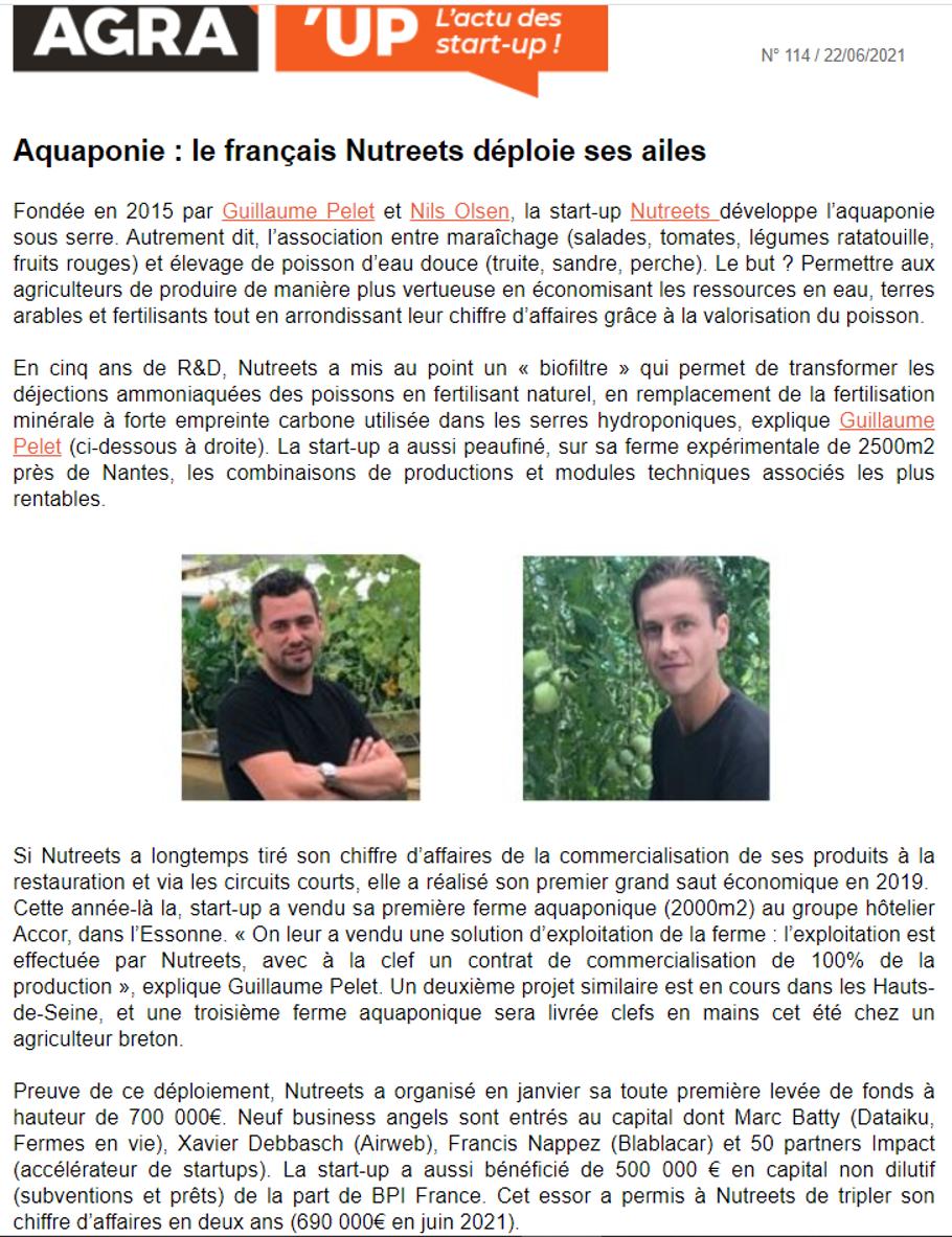 AGRA   Aquaponie : le français nutreets déploie ses ailes